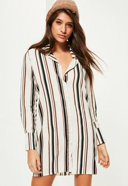 White Stripe Short Shirt Dress