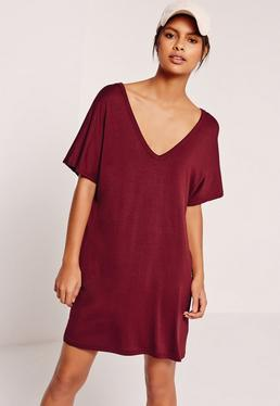 Burgundy Oversized Wide V Neck T-Shirt Dress