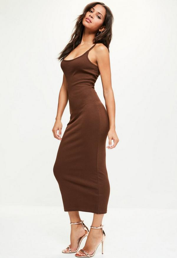 Brown Ribbed Strappy Midi Dress