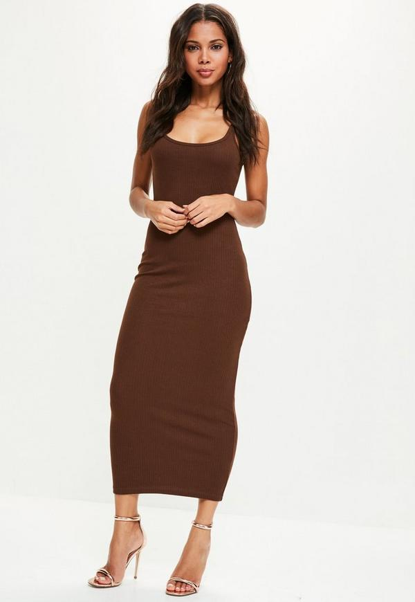 Brown Ribbed Strappy Midi Dress | Missguided