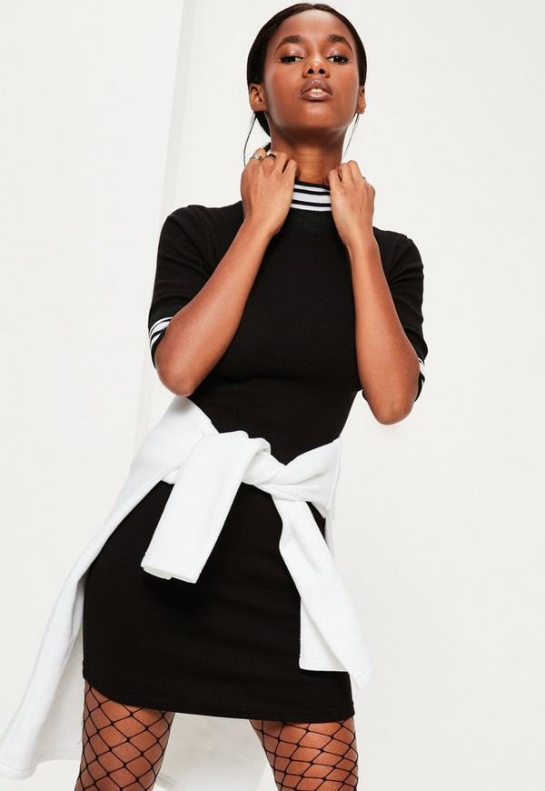 Black Varsity Trim Ribbed Bodycon Dress