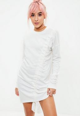 Kremowa pomarszczona sukienka bluza z długimi rękawami