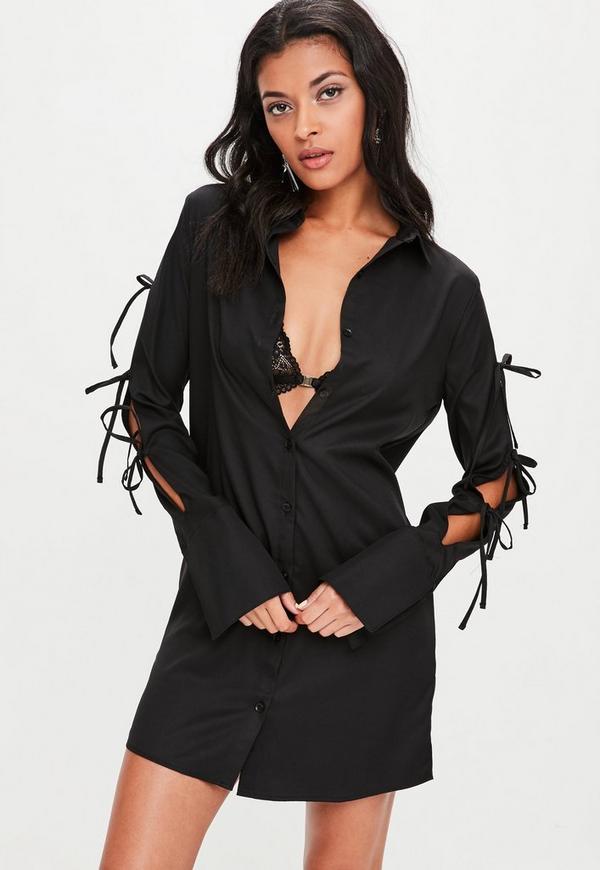 Black Tie Sleeve Detail Shirt Dress