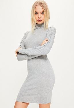 Szara dopasowana sukienka z marszczonymi rękawami