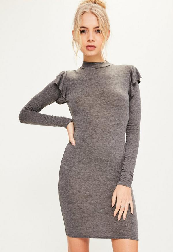 Grey Brushed Nickel Frill Shoulder High Neck Bodycon Dress