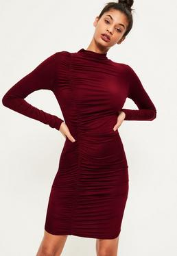 Burgundy Ruched Detail Bodycon Dress