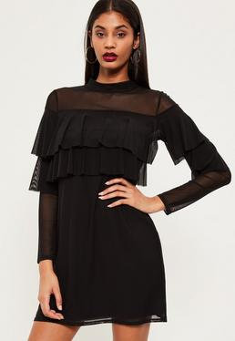 Black Double Frill Swing Dress