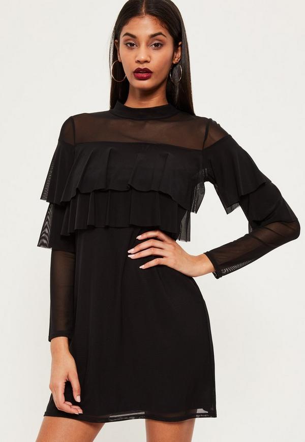 Black Double Frill Swing Dress