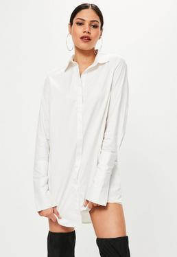 White Deep Turn Back Cuff Shirt Dress