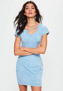 Blue Washed Cut Out Neck Detail Bodycon Dress