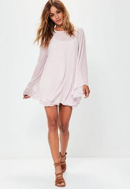Mauve Full Hem Chiffon Swing Dress