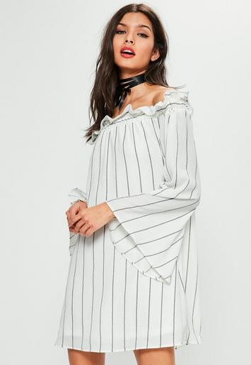 White Striped Ruffle Top Bardot Dress Missguided