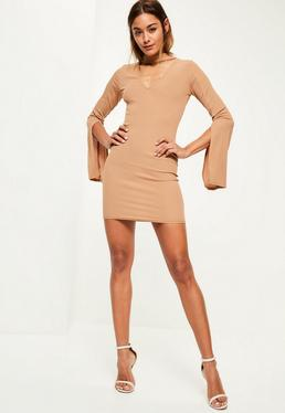 Camel Ribbed Flared Sleeve Choker Dress
