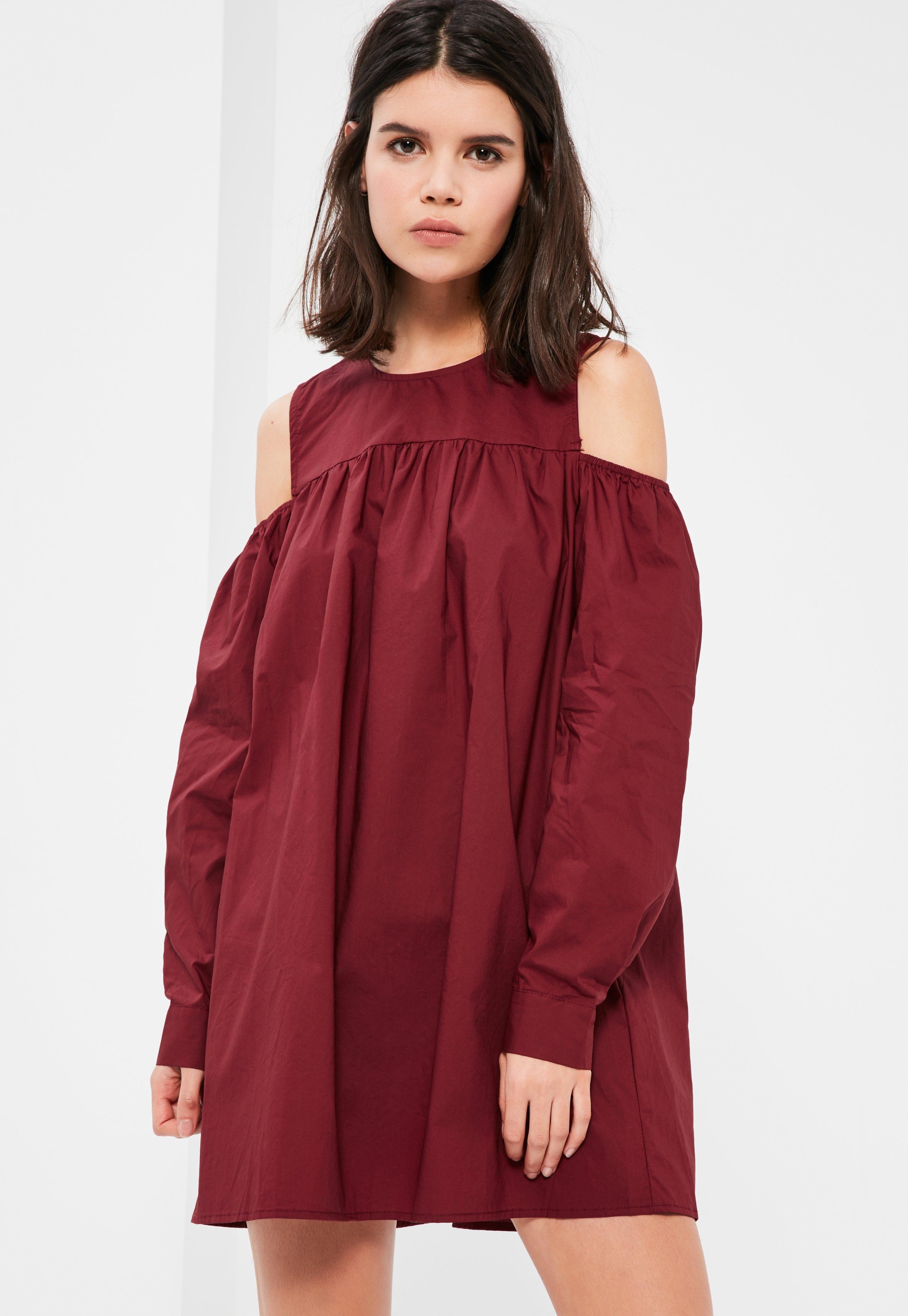 Burgundy Cold Shoulder Gathered Dress