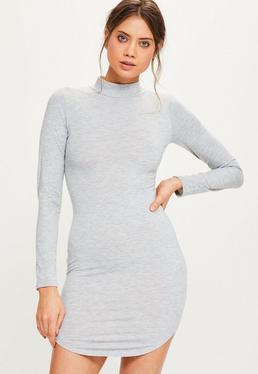 Grey Curve Hem High Neck Bodycon Rib Dress