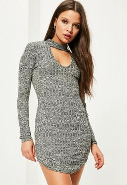 Grey Choker Neck Curved Hem Ribbed Bodycon Dress