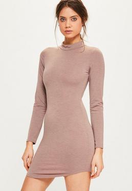 Pink Marl Curve Hem High Neck Bodycon Dress