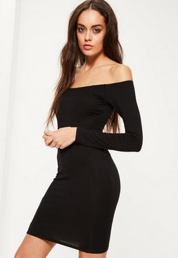 Black Long Sleeve Bardot Jersey Bodycon Dress