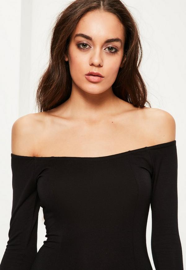 Figurbetontes Bardot Jersey Langarm-Kleid in Schwarz | Missguided
