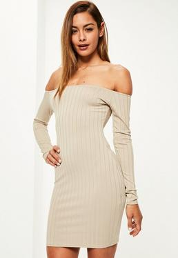 Nude Long Sleeve Thick Rib Bodycon Dress