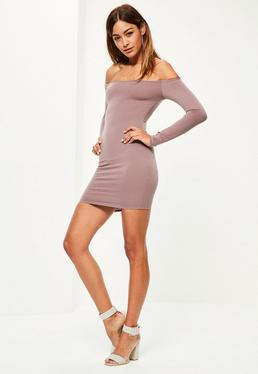 Pink Rose Long Sleeve Loop Back Bodycon Dress