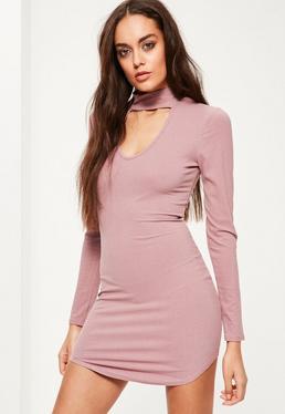 Pink Choker Neck Curved Hem Bodycon Dress