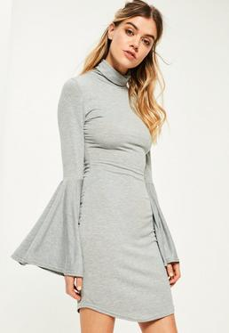 Grey Flared Sleeve High Neck Bodycon Dress