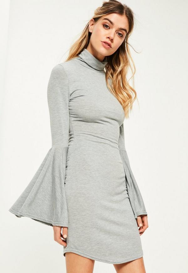 Grey Flared Sleeve High Neck Bodycon Dress