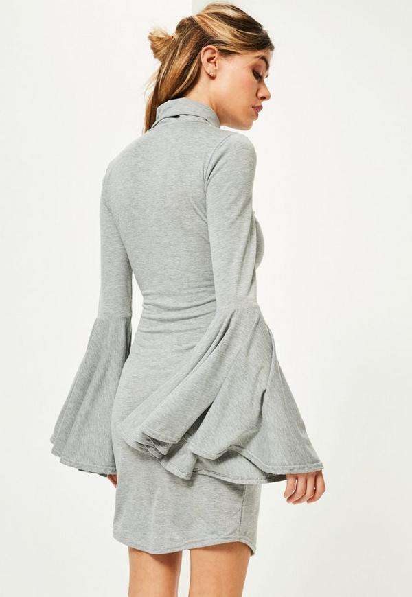 robe moulante grise col montant manches vas es missguided. Black Bedroom Furniture Sets. Home Design Ideas