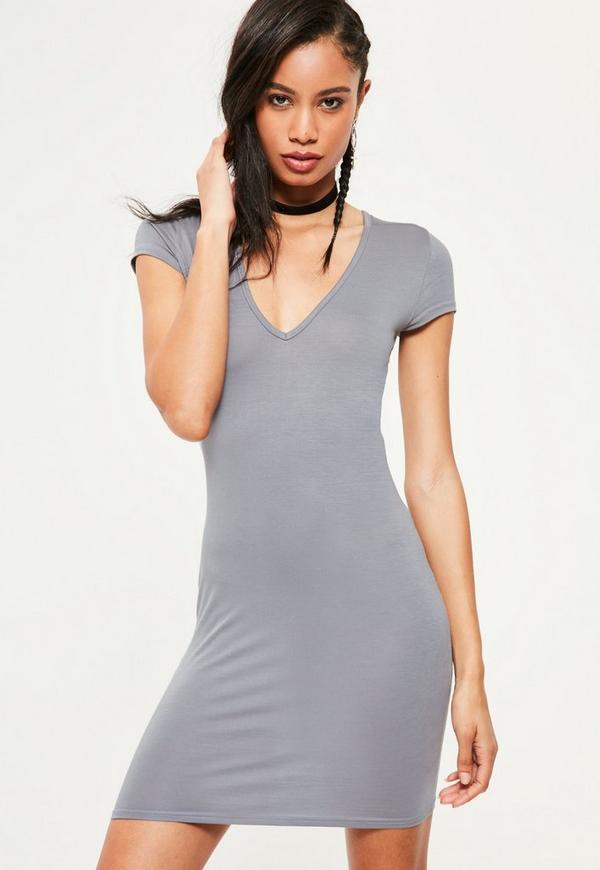 Grey Cap Sleeve V Neck Bodycon Dress