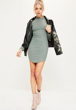 Green Curve Hem High Neck Ribbed Bodycon Dress