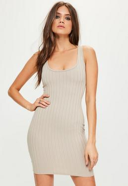 Nude Square Neck Ribbed Bodycon Mini Dress