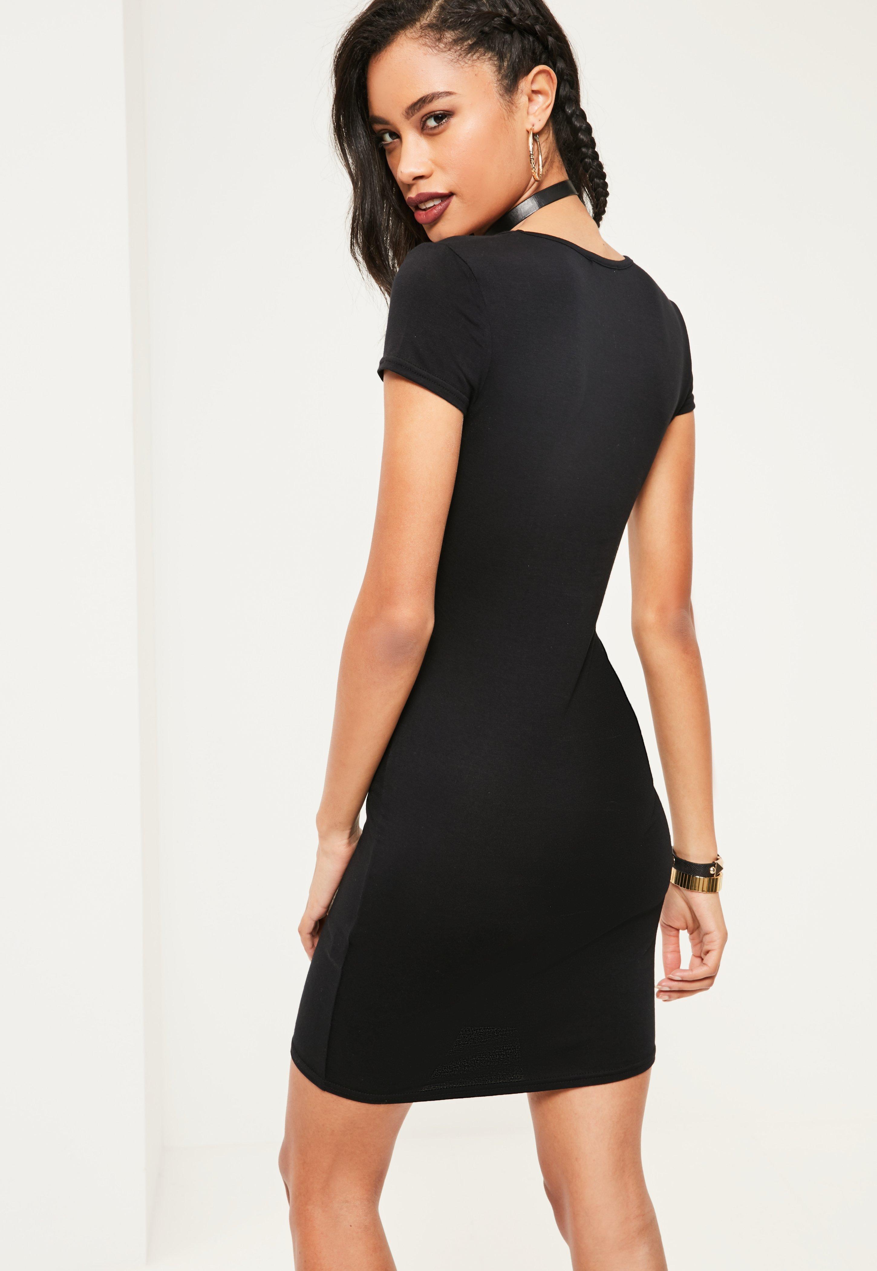 Black Cap Sleeve V Neck Bodycon Dress