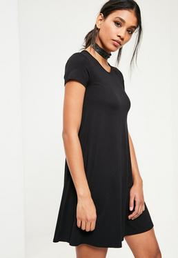 Black Cap Sleeve Jersey Swing Dress