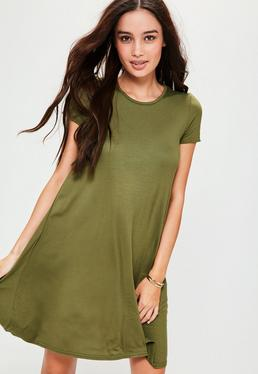 Khaki Cap Sleeve Jersey Swing Dress
