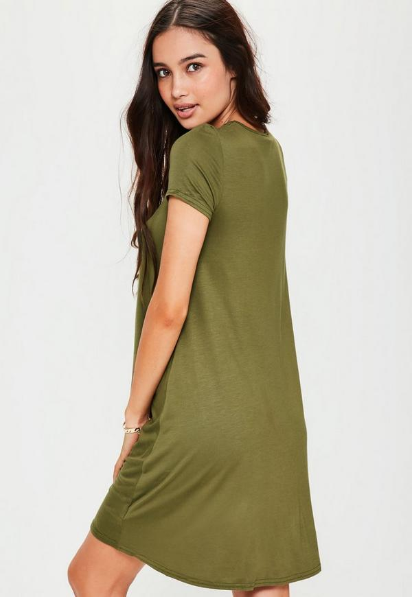 d8420e1a2687 Khaki Cap Sleeve Jersey Swing Dress. Previous Next