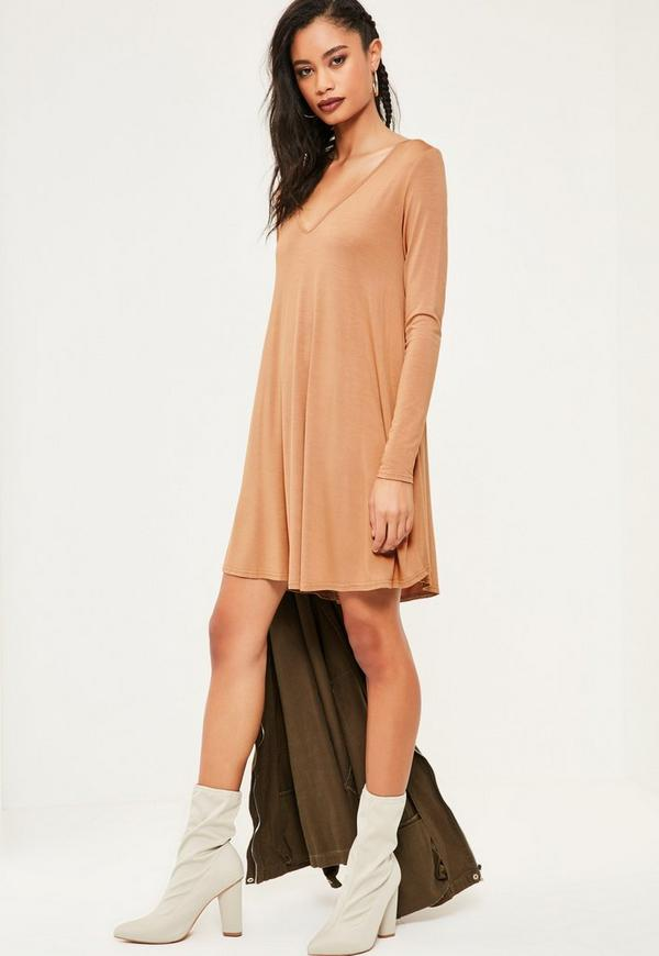 031b411bd7e7 Nude V Neck Jersey Swing Dress