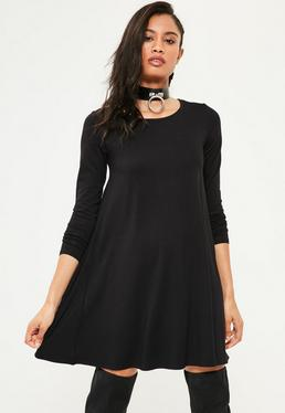 Black Long Sleeve Crew Neck Jersey Swing Dress