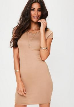 Nude Cap Sleeve Crew Neck Bodycon Dress