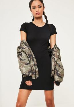 Black Cap Sleeve Crew Neck Bodycon Dress