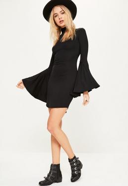 Black Flared Sleeve High Neck Bodycon Dress
