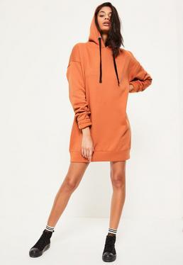 Orange Eyelet Fleeceback Hooded Jumper Dress