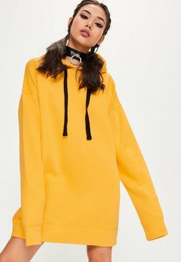 Yellow Eyelet Fleeceback Hooded Jumper Dress