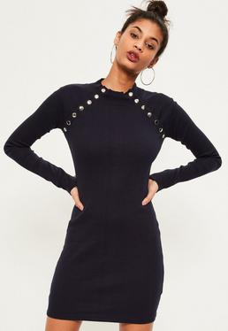 Blue stud detail bodycon dress
