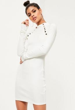 White Stud Detail Bodycon Dress