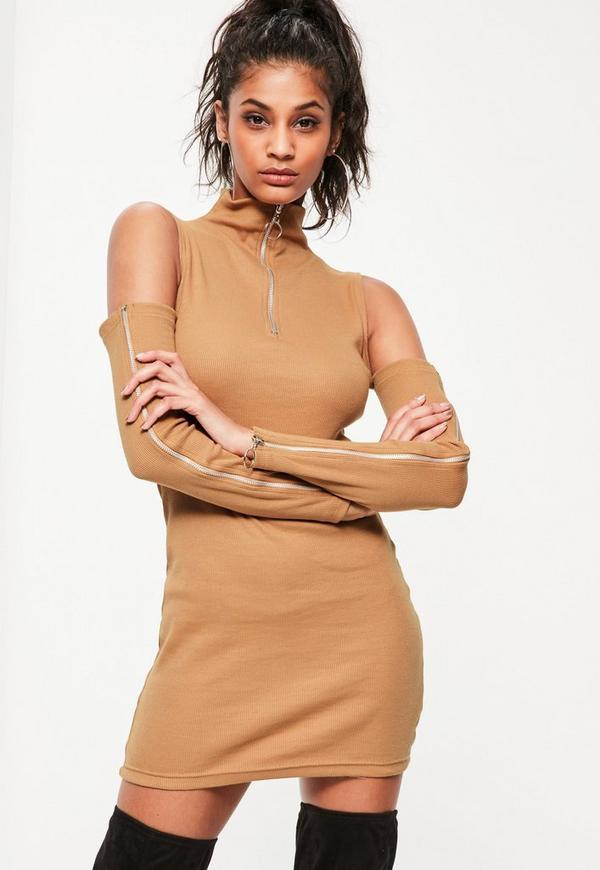 Camel Warm Slash Arm Zip Detail Rib Bodycon Dress