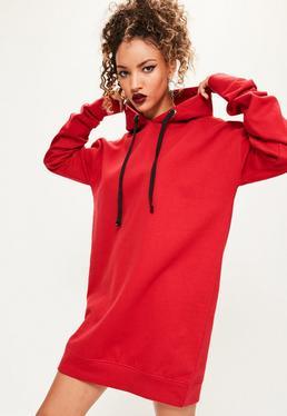 red eyelet fleeceback hooded sweater dress