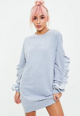 grey frill sleeve jumper dress