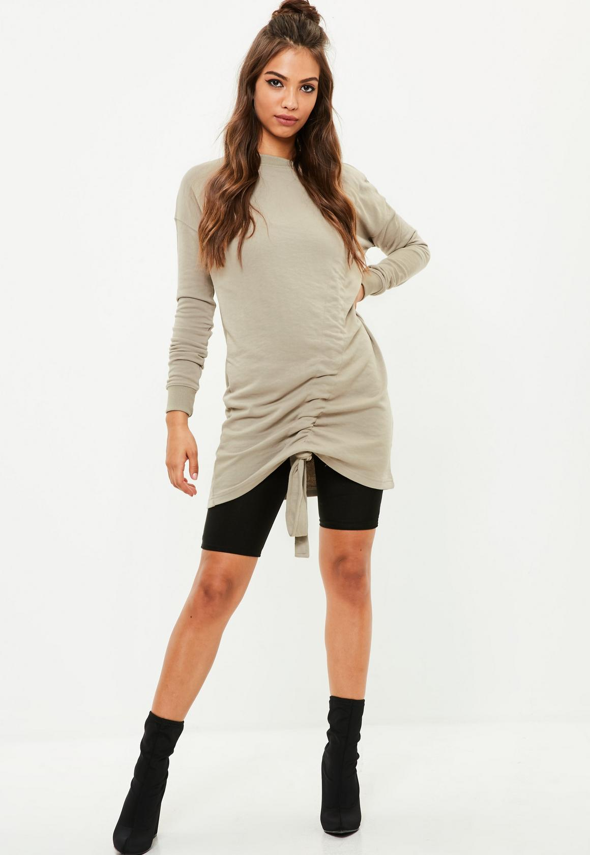 Brown Ruched Sweater Dress | Missguided