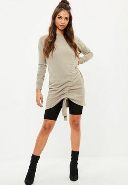 Robe-sweat grise froncée à manches longues
